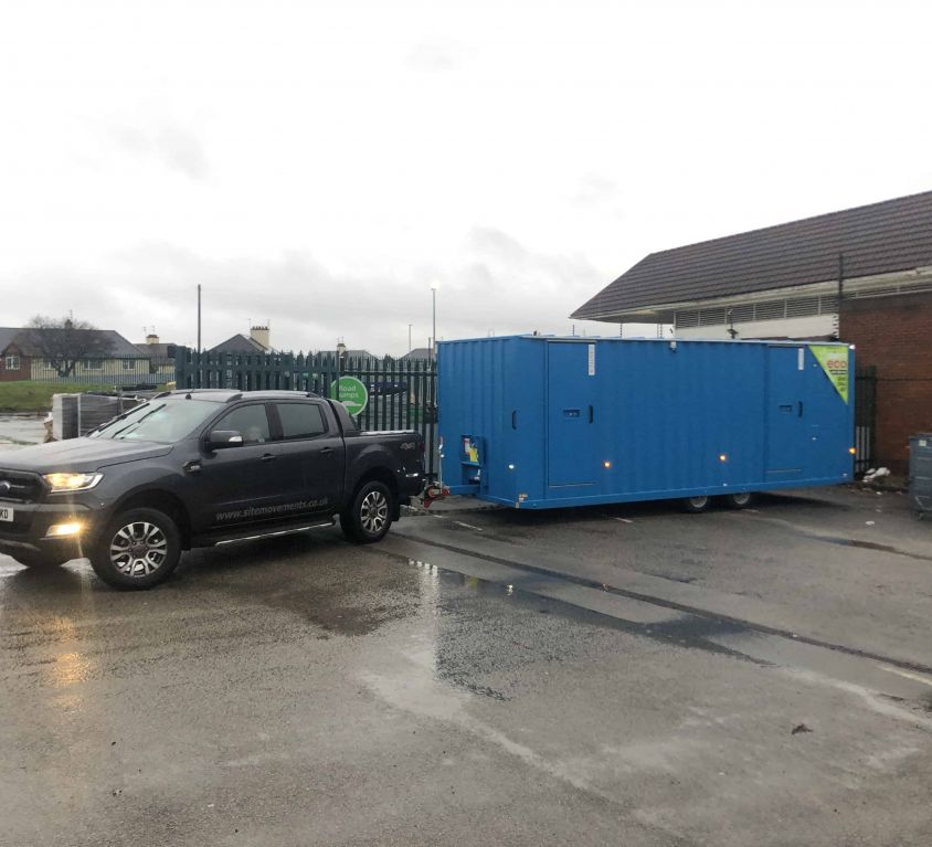 24ft welfare unit collected from Liverpool